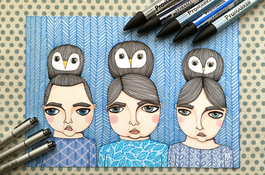 promarker-copic-sisters-owls-illustration-portrait
