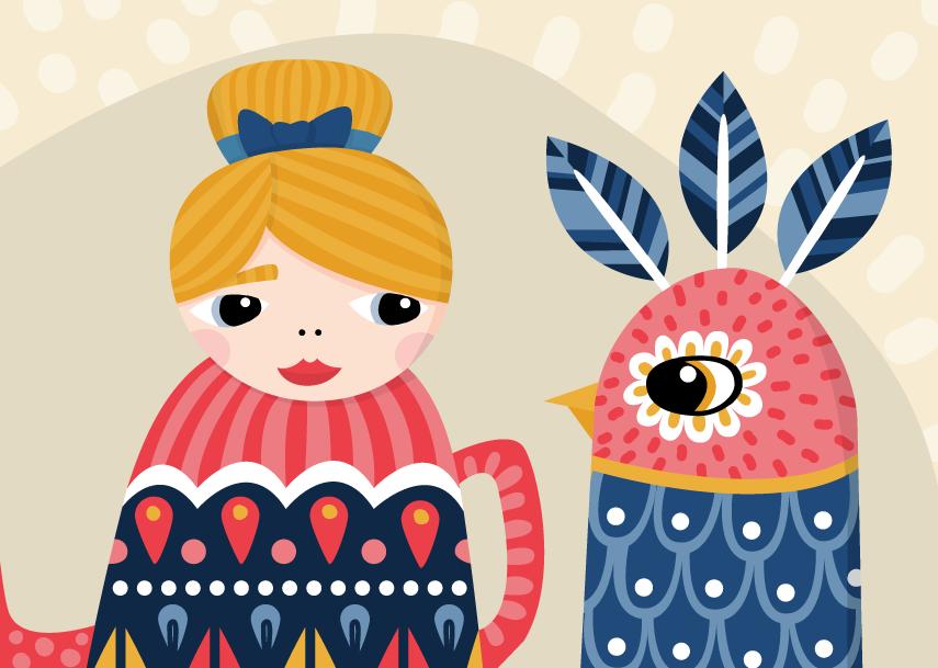 folk-art-girl-and-bird-illustration
