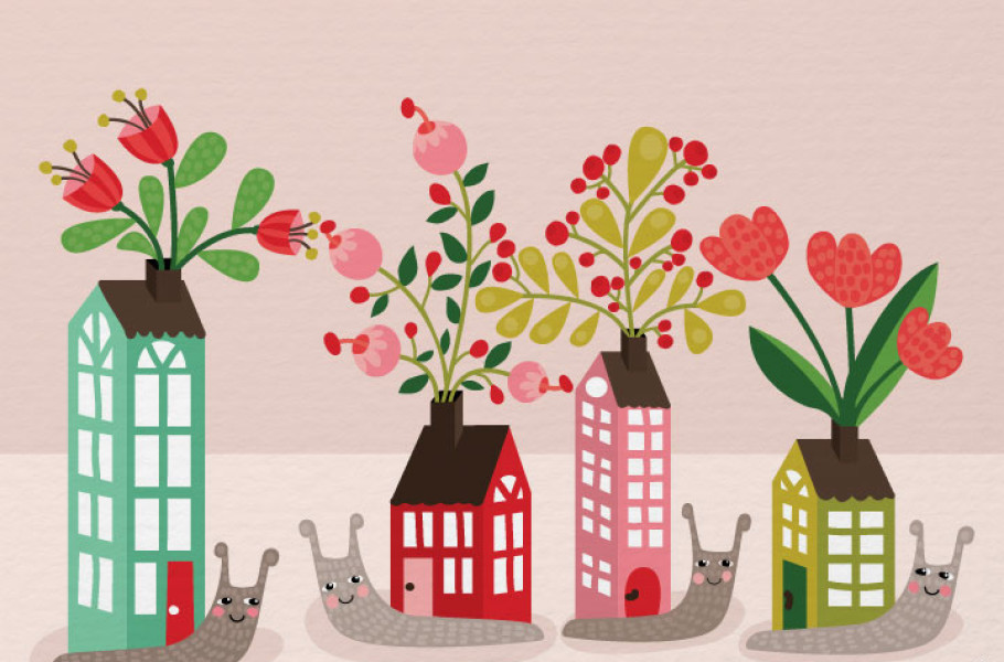 illustration-snails-with-houses-and-flowers