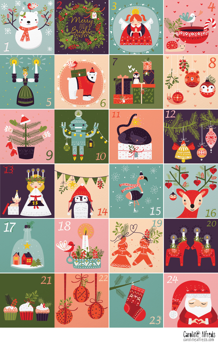 Christmas Calendar Illustration : Illustrated advent calendar